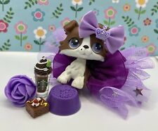 Authentic Littlest Pet Shop No # Chocolate Brown White Puzzle Collie Purple Eyes