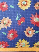 "Vintage Floral Cotton Fabric Concord 1.5 yards 54"" L X 44"" W Bright Floral NOS"