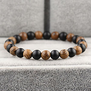 Charm 8MM Multilayer Wooden Onyx Beaded Women Mens Bracelet Jewelry Stretch Gift