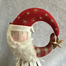 Fabric Santa Moon Head Christmas Tree Top Topper Clip On Vintage Gisela Graham