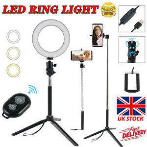 Dimmable LED Ring Light With Stand Tripod Phone Holder Makeup Video Phone Selfie
