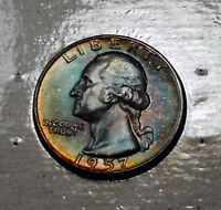 Beautiful Rich Blue 1957 Washington Silver Quarter Mint Set Looks Flawless 67