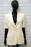 Giacca Donna MARELLA Taglia 44 M Maglia Blazer Jacket Woman Lino Vintage Bianco