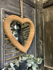Rustic Style Hanging Wooden Heart Wall Mirror Bedroom Dressing Room Home Decor