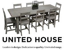 White 8 Seater Dining Table and Chairs Rustic Industrial Furniture Setting