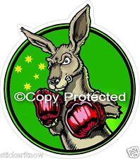 Boxing Kangaroo Australian Green n Gold Flag Bumper Sticker Car Caravan Decal
