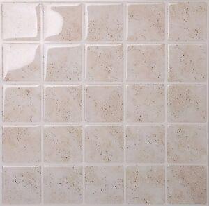 Tic Tac Tiles 3D Peel and Stick Wall Tile MarmoTravertine (25 x25 cm x 10sheets)