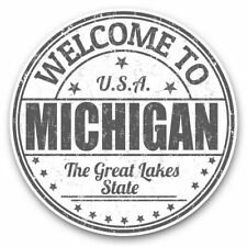 2 x Vinyl Stickers 20cm (bw) - Michigan USA The Great Lakes Stamp  #40343