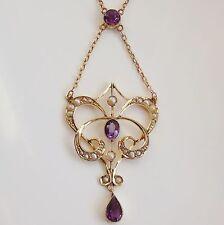 Antique Edwardian Art Nouveau 9ct Gold Amethyst & Pearl Pendant Necklace c1910