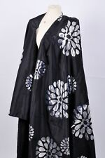 STUNNING BLACK ACETATE FABRIC WITH SILVER METALLIC FLORAL PATTERN CUSHION DRESS