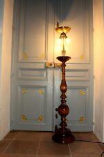 Heavy Antique Vintage Italian 0ak Wood Standard/Floor Lamp working complete