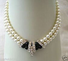 2 Rows White Akoya Cultured Pearl & Back agate Necklace