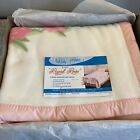 Vintage First Lady Blanket Pink Regal Roses Twin Full 72x90 Orlon Blend