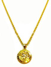 "18k Gold St. Christopher Pendant With 30"" Water Wave Snake Necklace Set +GiftPkg"