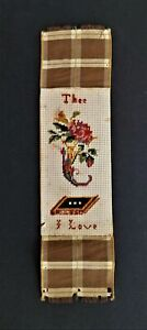 1800s antique PAPER PUNCH SAMPLER cross stitch BOOKMARK thee i love valentine