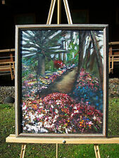 COAST GARDEN PATH FLOWERS FLORAL IMPASTO OIL PAINTING SIGNED JULIE DUTCHER