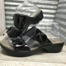 Dansko Women's Leather Black Adjustable Strap Flower Textured Patent Size 8.5