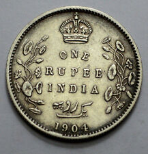 1904 5 Dots  BRITISH INDIA King Edward VII ONE RUPEE RARE SILVER COIN !