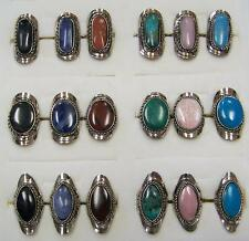 2 PC ASST ALPACA SILVER REAL STONE ASST RINGS women hand crafted ring jewelry