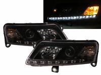 A6 C6 4F MK3 04-08 R8Look LED Bar Halogen Feux Avant Phare Black for AUDI LHD