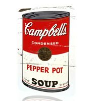 METAL SIGN Andy Warhol Poster Campbell's Condensed Pepper Pot Soup Rusted ART