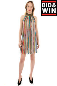 RRP €955 MISSONI Knitted Shift Dress Size 40 / S Ribbed Striped Made in Italy