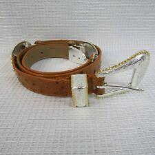 "Silver & Goldtone Leather Belts 1998  Size Large 32.5"" / 36.5"""