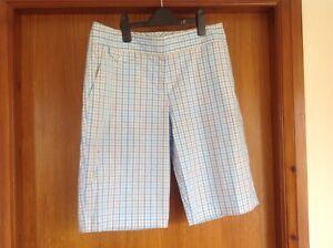 Izod Ladies Blue/Cream Check Stretch Golf Shorts Size M/L Waist 32 Ex Cond