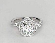 Sapphire & Diamond Engagement Ring 14k White Gold 2.50 Ct Size 7