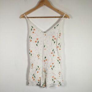 Sportsgirl womens playsuit romper size 6 white floral sleeveless V neck viscose