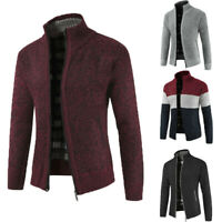 Men Solid Casual Thicken Zipper Knitwear Coat Sweater Jacket Winter Warm Outwear