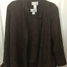 susan graver large tops Chocolate Brown- Sleeveless Top With Cover Blouse