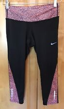 Nike Dri Fit Athletic Active Capri XS Black Peach Reflective Running Workout