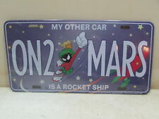 MARVIN MARTAIN METAL LICENSE PLATE ON 2 MARS OTHER CAR IS ROCKET SHIP