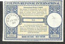 IRC INTERNATIONAL REPLY COUPON ABERDEEN GREAT BRITAIN 9d TYPE B7 1957