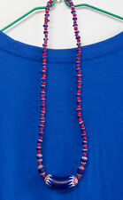 52 CHEVRON 6 Layer Venetian African Trade Bead Necklace Red White Hearts