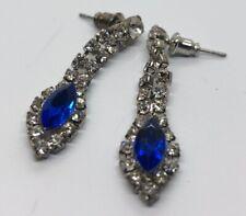 Vintage Earrings Dangle Silver Tone Rhinestone Clear Blue
