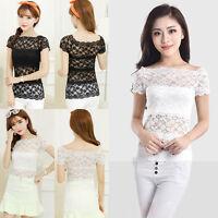 Women's Cotton Sheer Short Sleeve Top Blouse Lace Hollow Vest Crochet Tee Shirt