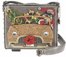 Mary Frances Santa Cruise Xmas Holiday Car Gift Silver Beaded Bag Bead Purse New