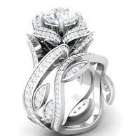 Certified Flower Lotus White Diamond 14K White Gold Engagement Wedding Ring Set