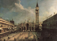Excellent Oil painting cityscape Piazza San Marco with great buildings canvas