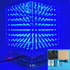 Large 3D Square 8x8x8 LED Blue Light Cube MP3 Music Spectrum PCB Board DIY Kit