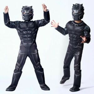 Black Panther Kids Boys Costume Superhero Cosplay Party Fancy Dress Outfits UK
