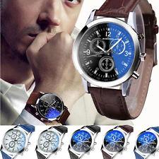 Genava Men's Leather Date Stainless Steel Military Sport Quartz Wrist Watches