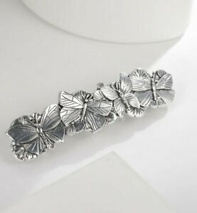 Alloy Antique Silver Butterfly Hair Barrette
