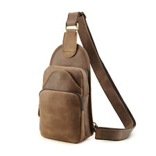 Mens Real Leather Sling Shoulder Backpack Chest Side Cross Body Bag Sports Cycle