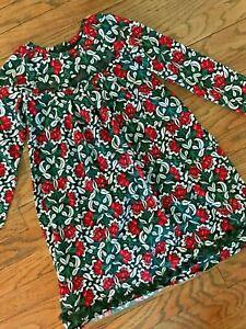 Hanna Andersson Floral Long Cotton A-Line Tent Empire Waist Shift Dress 120 6/7
