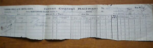 Great Central Railway - invoice from Marylebone Station to Fockerby (1911)