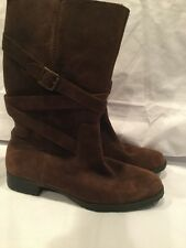 Ralph Lauren Shelby Mid Calf Brown Suede Riding Boots Women's Size 8.5