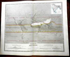 Rain Map of the World 1856 A.K. Johnston scientific map Hyetographic